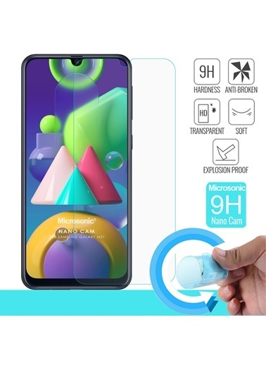 Microsonic Samsung Galaxy M21 Nano Glass Screen Protector Renkli